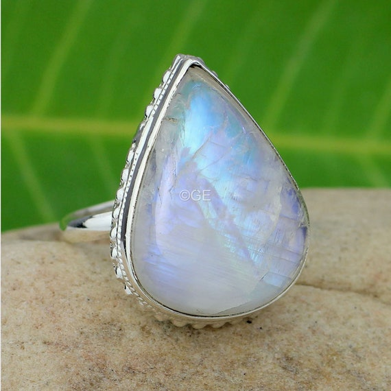 Rainbow Ring Rainbow Oval Blue Fire Handmade Scratch Finishing 925 Sterling Silver 18 crt Gold Plated Moonstone Gold Plated Ring Silver