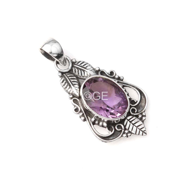 February Birthstone Solid 925 Sterling Silver Leaf Design Necklace Pendant Natural Amethyst Gemstone Pendant New Design Pedant jewelry