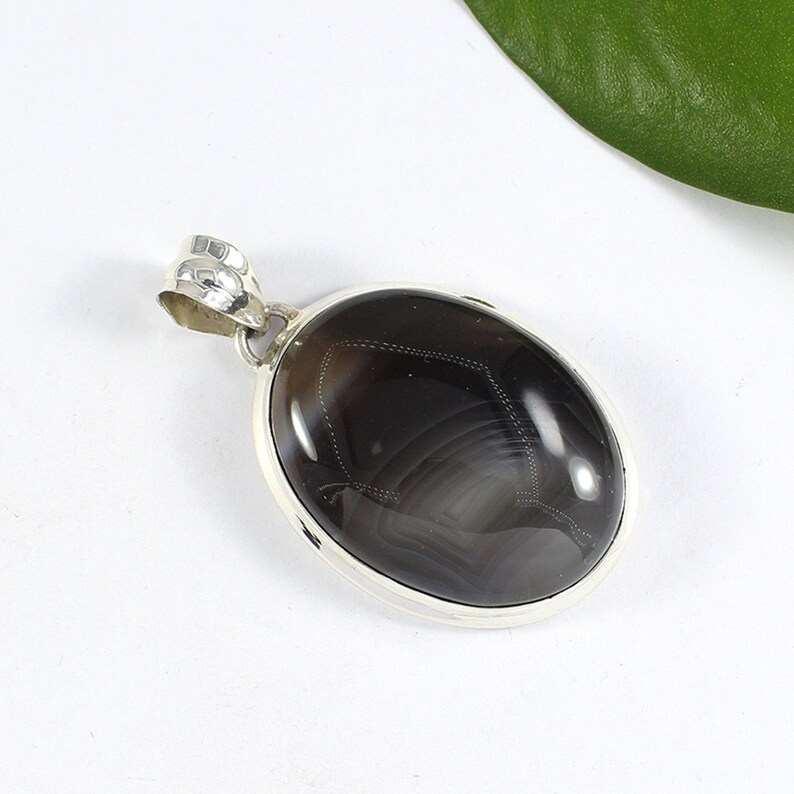 Natural Botswana Agate Pendant Necklace Beautiful Pendant Jewelry Natural Stone Pendant 925 Sterling Silver Necklace February Sale