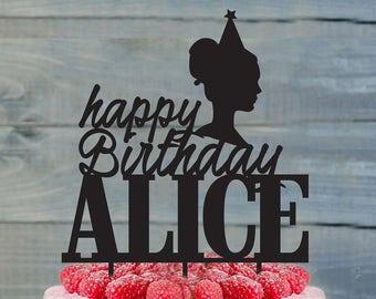 Birthday cake topper- Silhouette Birthday cake topper- Personalized cake topper- Personalized Birthday Cake Topper- Custom cake topper