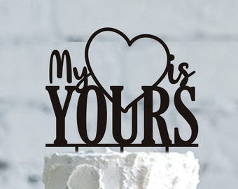 Personalized Wedding Cake Topper, Silhouette heart cake topper, Silhouette Cake Topper, gold Cake Topper, CUSTOM Wedding Cake Topper