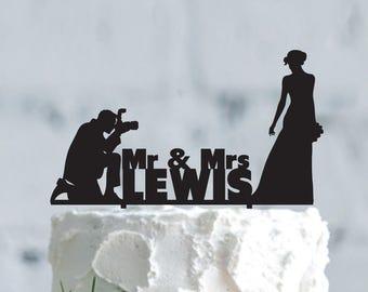 Photographer wedding cake topper, Customizable Wedding Cake Topper, photography wedding, Custom Groom & Bride Silhouette Wedding Cake Topper