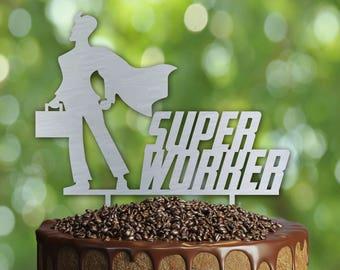 Superheroe Birthday Cake Topper- Customizable Birthday CakeTopper- Super worker Cake Topper-Silhouette Cake Topper- Personalized cake topper