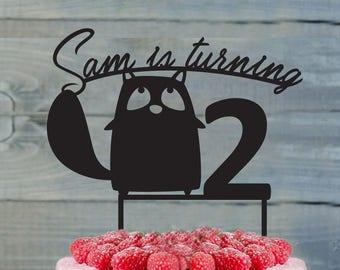 Birthday Cake Topper- Customizable Birthday Cake Topper- Squirrel Cake Topper- Silhouette Squirrel Cake Topper- Personalized cake topper