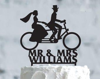 Bicycle wedding cake topper - Wedding Cake Topper- Customizable Wedding Cake Topper- custom Bike Cake Topper for Wedding- wedding Gift