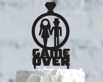 Wedding Cake Topper GAME OVER cake topper, Wedding Cake Topper,Customizable Wedding Cake Topper,Cake Topper for Wedding, wedding Gift