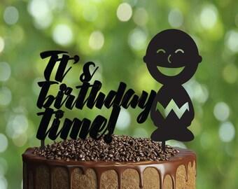 Boy Birthday Cake Topper-Customizable Birthday CakeTopper- It's birthday time Cake Topper-Silhouette Cake Topper-Personalized cake topper