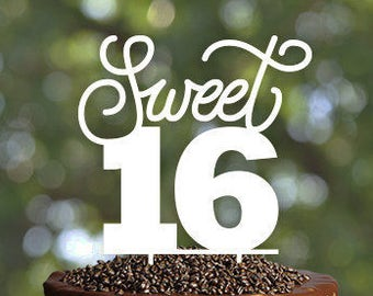 Sweet sixteen Birthday Cake Topper, Cake Topper Sweet 16 Cake Topper, 16th Birthday Cake Topper, 16th Birthday Topper, Quinceanera Birthday