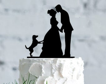Wedding with dog cake topper- Silhouette wedding cake topper,Personalized cake topper, Personalized wedding Cake Topper, wedding cake topper
