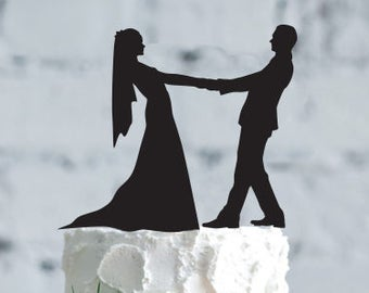 Wedding cake topper- Silhouette wedding cake topper- Personalized cake topper- Personalized wedding Cake Topper- Dance cake topper