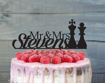 Mr and Mrs Personalized Checkmate Chess, Inspired Wedding Cake Topper, wedding cake topper,cake topper, chess cake topper,custom cake topper