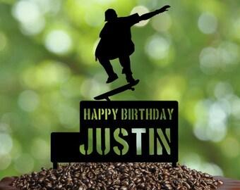 Skater Birthday Cake Topper, Skateboard Cake topper, skate cake topper, Custom Skateboard cake topper, personalized birthday cake topper