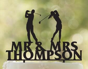 Golf Wedding Cake Topper Fore Ever Golf Cake Topper Golfer | Etsy
