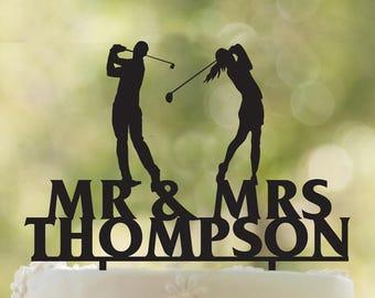 Golfers wedding cake topper- Customizable Cake Topper- Golfers wedding cake topper-Wedding Cake Topper- Golf Cake topper wedding Gift
