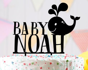 Personalized Welcome Baby Cake Topper, Cake Topper, Welcome Baby, Baby Shower, Baby whale cake topper, whale theme Baby Shower ideas