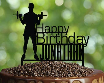 Fitness Cake Topper, Customizable Birthday Cake Topper- Weight lifting Cake Topper- Silhouette Bodybuilder Cake Topper, Fitness Cake Topper