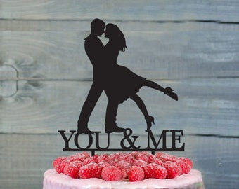 Anniversary cake topper- Anniversary Cake Topper- Personalized cake topper- Dancing Couple Cake Topper- Customizable You & Me cake topper
