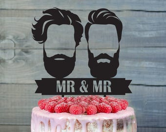 Customizable Gay Wedding Cake Topper, Same Sex Cake Topper, Gay Cake Topper, Gay silhouette, Bearded men Wedding, Cake Topper For Men, gift