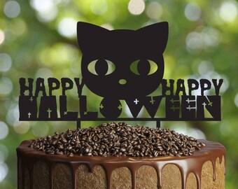 Halloween cat Cake Topper, Customizable  cake topper, halloween party decoration, black cat cake topper, halloween night