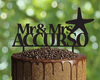 Starfish wedding cake topper- Customizable Wedding Cake Topper- Personalized wedding cake topper- Wedding Cake topper- Sea star silhouette