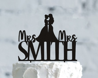 Customizable gay Wedding Cake Topper- Lesbian Silhouette- Lesbian Cake Topper- Same Sex Cake Topper- personalized Mrs and Mrs  Cake Topper
