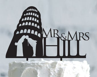 Wedding in Tuscany cake topper- Wedding cake topper- Silhouette wedding cake topper - Personalized wedding Cake Topper