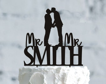 Customizable Mr and Mr Wedding cake topper, Silhouette groom and groom Cake Topper, Custom Gay Wedding Cake Topper, Mr & Mr Cake Topper