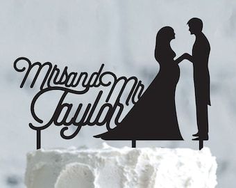 Silhouette Pregnant wedding cake topper- Personalized cake topper-Personalized wedding Cake Topper-Customizable Pregnant wedding cake topper