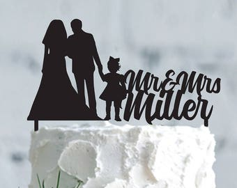 Family Wedding cake topper- Wedding cake topper- Silhouette wedding cake topper- Personalized cake topper- Personalized wedding Cake Topper