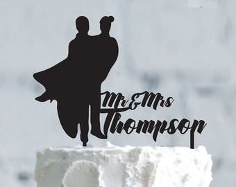 Wedding cake topper- Silhouette wedding cake topper- Personalized cake topper- Personalized wedding Cake Topper- Bride and Groom cake topper