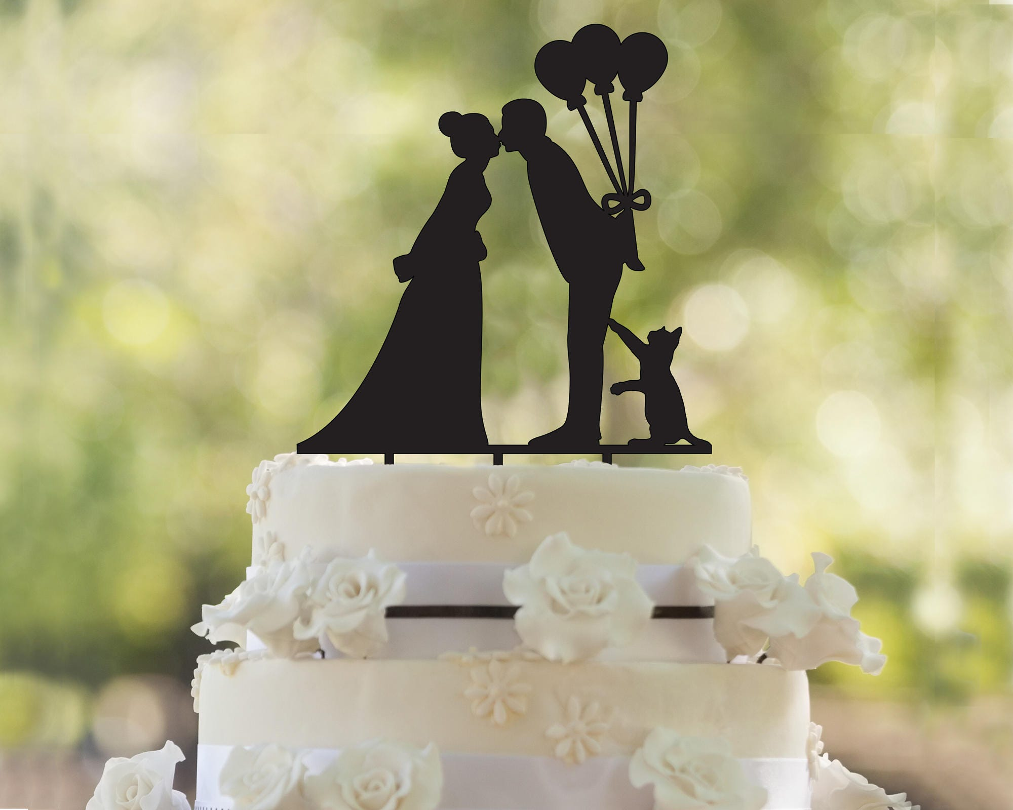 cat cake topper silhouette wedding cake topper gold glitter | Etsy