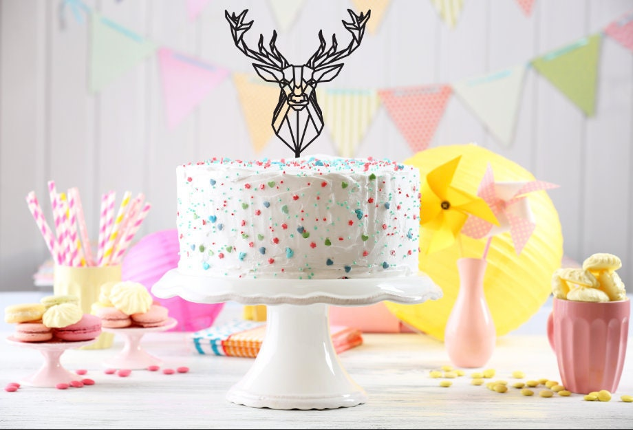 Wooden Cake Topper Deer Cake Topper Unique Cake Topper Etsy