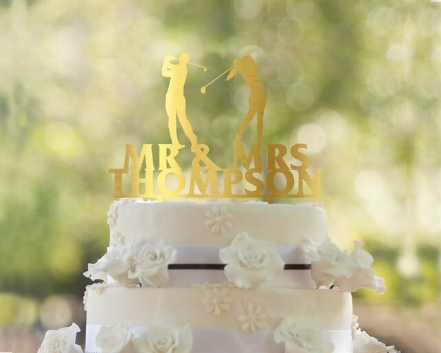 Golf cake topper Wedding Cake Topper Golfers wedding cake | Etsy