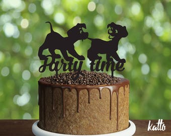 Puppies Birthday Cake Topper-Customizable Birthday CakeTopper-Happy time Cake Topper-Silhouette Puppies Cake Topper-Personalized cake topper