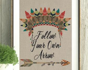 Boho Art, Teen Room, Boho Home Decor, Inspirational,House warming gift, Follow Your Own Arrow, Arrows, Hippie Decor, Tribal Decor, Teen Gift
