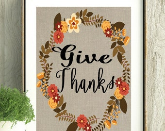 Thanksgiving Decor, Thanksgiving, Give Thanks, Fall Decor, Fall Wall Art,Fall Colors Decor,Give Thanks Print,Wall Art,Home Decor,Fall Wreath