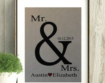 Mr&Mrs Wedding Gift,Wedding Keepsake with names and date,Wedding Date,Engagement Gift,Bridal Shower Gift,House warming gift, Wedding decor