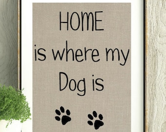 Home is where my dog is, Dog Lover, Dog, Gift for Dog lover, Wall Art, Dog quote, Dog Print, I love my Dog, Dog Gift, Dog Print, Home decor