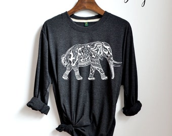 9156a9ae9d92d7 elephant Shirt - elephant graphic Shirt Funny Long Sleeve Shirts Clothing  Women Unisex