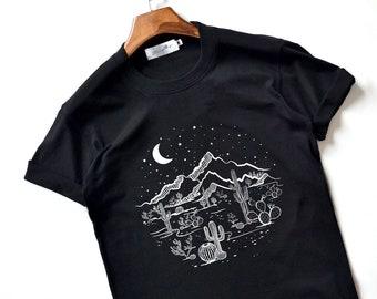 Desert Starry Night Shirt Desert Shirt Cactus Shirt Top High Quality Super Soft Unisex