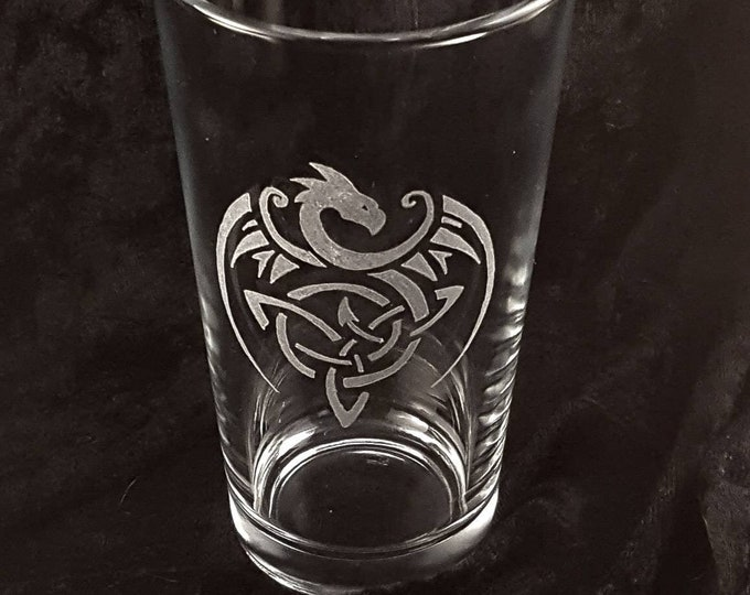Celtic Dragon - Hand engraved glassware | Free Personalization