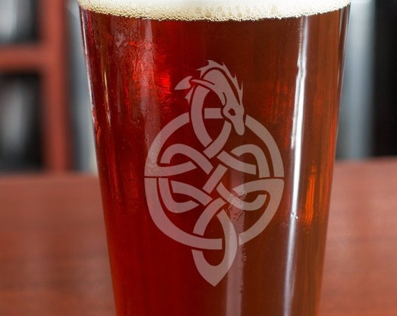 Celtic Dragon Pint | Hand Engraved | Free Personalization