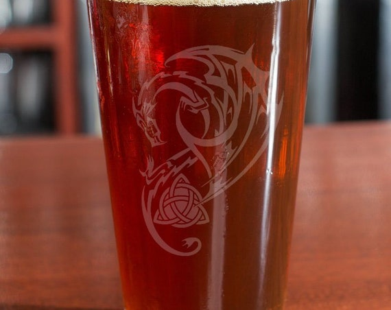 Celtic Dragon Triquetra Pint | Hand Engraved | Free Personalization