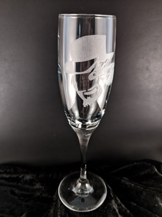 The Great Evil! - Flaming Monocle champagne flute | Hand Engraved | Personalization avaliable