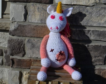 Unice the Unique Unicorn, handcrafted amigurumi crocheted stuffed animal