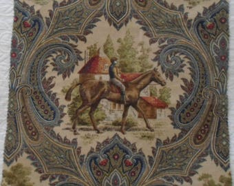 Equestrian print in blue.  Horse and Rider Jockey Paisley fabric