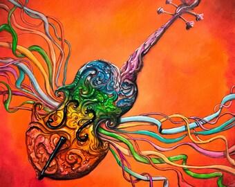 08b92285c Violin Print - Abstract Violin Art Print - Colorful Art - Rainbow Art -  Home Decor - Wall Art