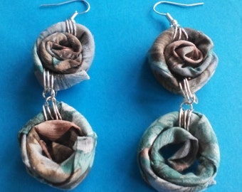 Floral Fabric Spiral Earrings