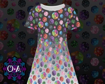 D20 Dress - Short Sleeve Gamer Dress Cosplay Dress Comicon Dress Dice Dress RPG Dress Roleplaying Game Dress 20 Sided Die Dress