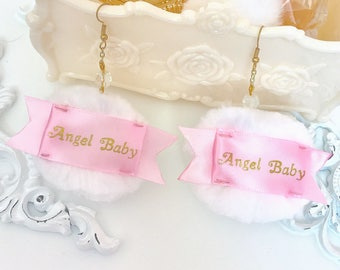 Angel Baby Powder Puff Earrings